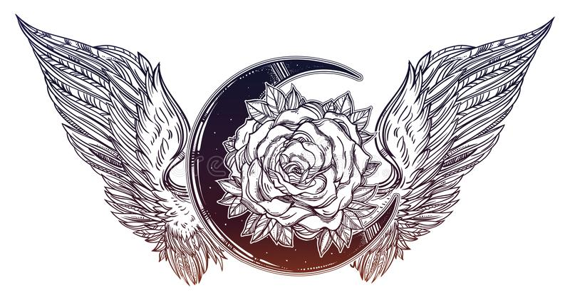 Rose flower beautiful bouquet with beads, crystal gemstones and Angel or bird wings. Blackwork tattoo flash. Vintage flower. Highly detailed vector stock illustration