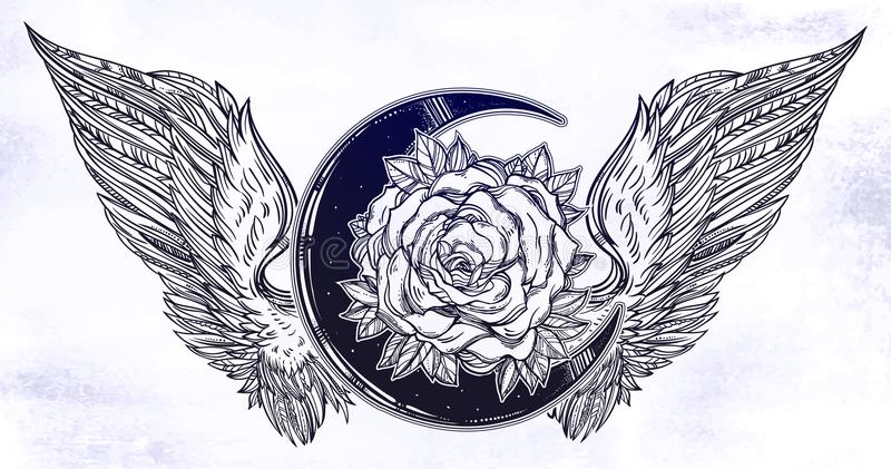 Rose flower beautiful bouquet with beads, crystal gemstones and Angel or bird wings. Blackwork tattoo flash. Vintage flower. Highly detailed vector royalty free illustration