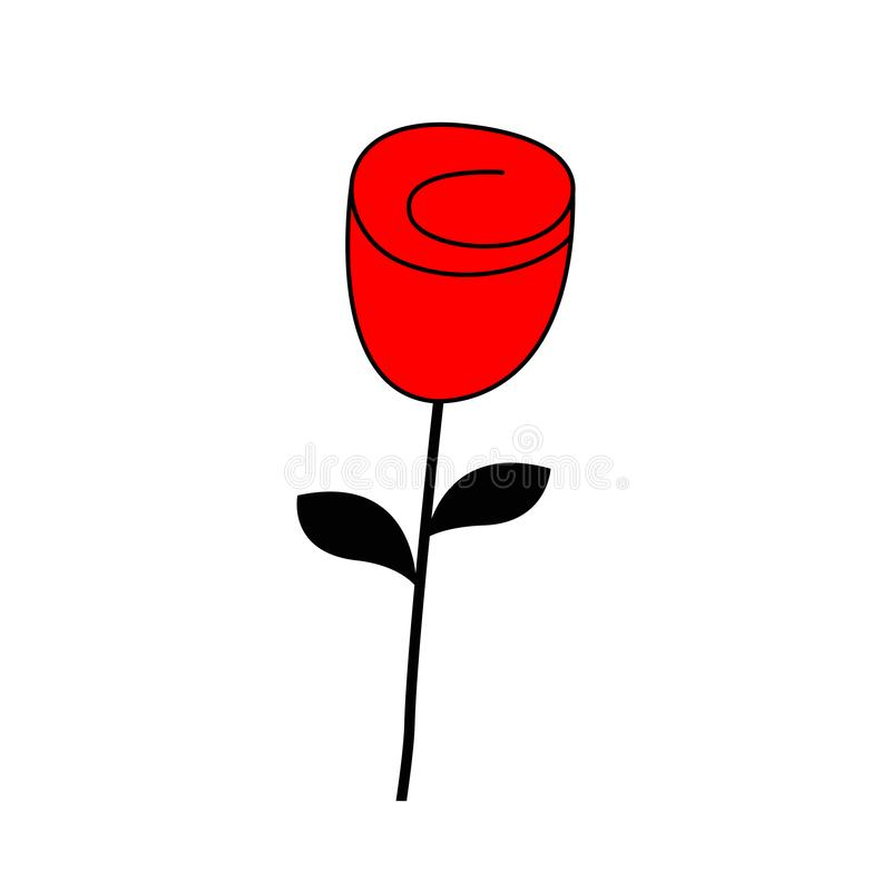 Rose flower blossom icon. Happy Valentines Day Love Greeting card. Red and black color silhouette. Bud and leaves. Flat design. stock illustration