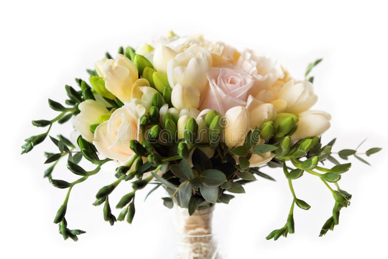 Rose flower bouquet for the bride. Rose and freesia flower bouquet gentle pastel colors for the bride on the wedding date stock photos