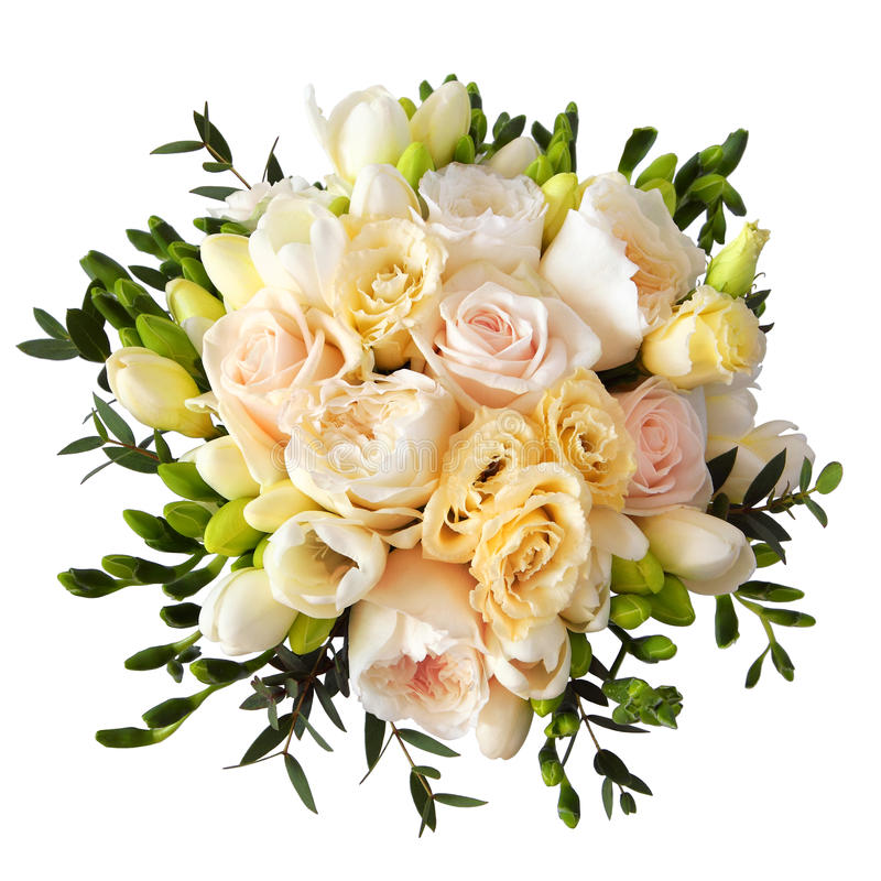 Rose flower bouquet for the bride isolated on white royalty free stock images
