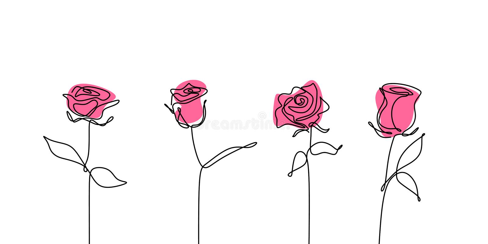 Rose flower continuous line drawing set collections royalty free illustration