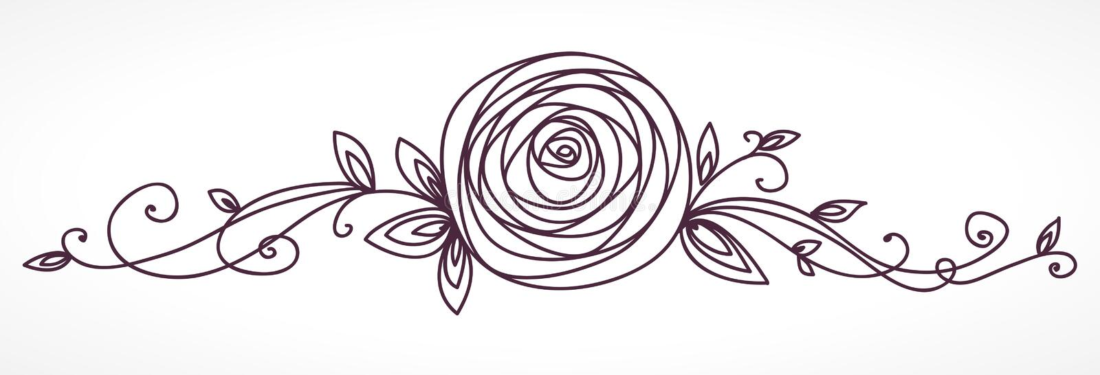 Rose Flower Decoratief bloemenontwerpelement royalty-vrije illustratie