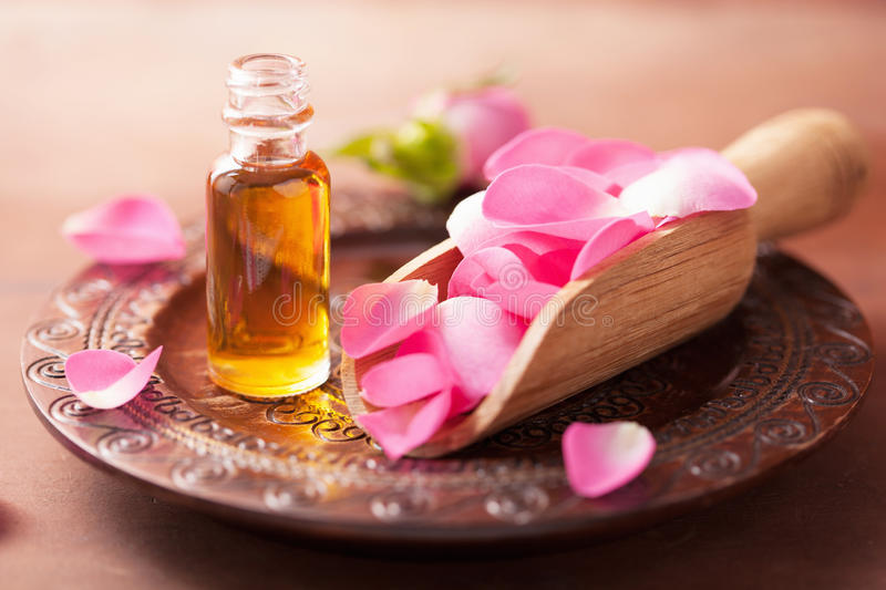 Rose Flower And Essential Oil Spa And Aromatherapy Stock