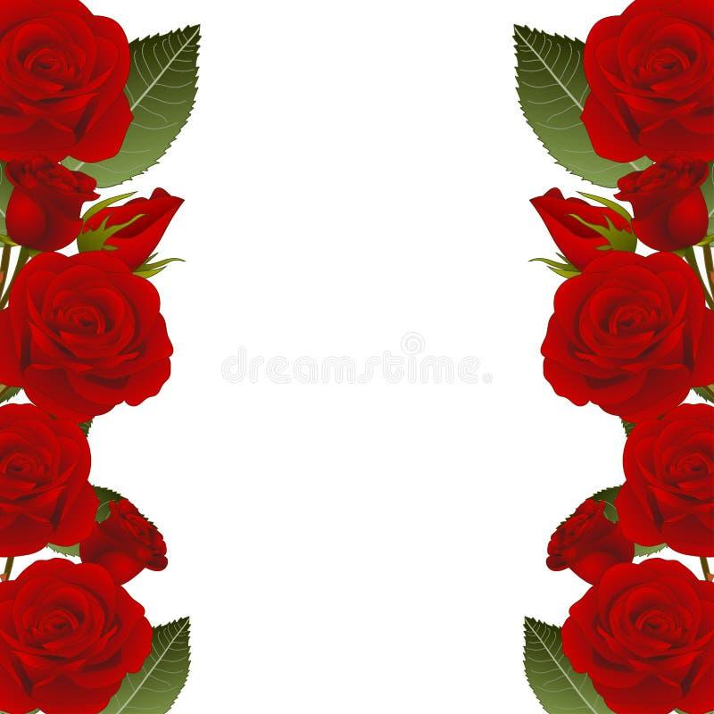 Rose Flower Frame Border vermelha Isolado no fundo branco Ilustração do vetor ilustração stock