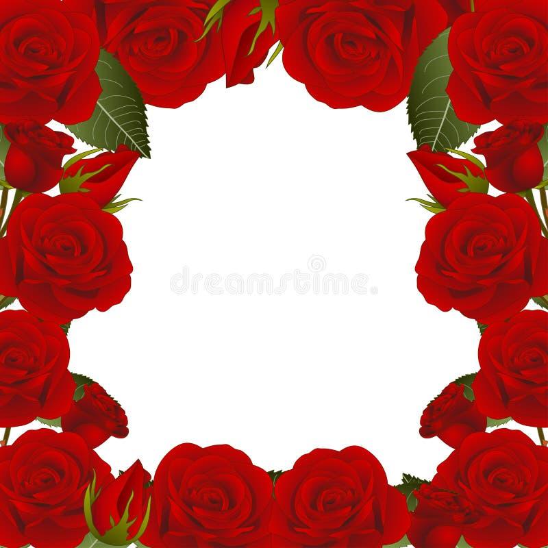 Rose Flower Frame Border vermelha Isolado no fundo branco Ilustração do vetor ilustração do vetor