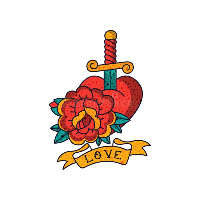 Rose flower, heart, dagger, ribbon and word Love, classic American old school tattoo vector Illustration on a white. Rose flower, heart, dagger, ribbon and word stock illustration