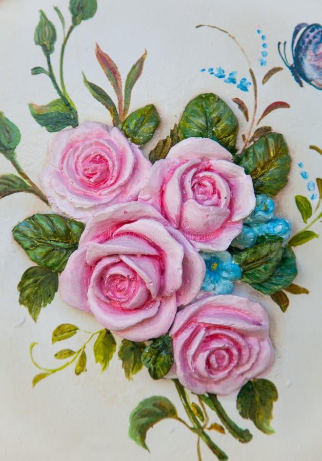 Rose Flower-houtsnijwerk stock foto's
