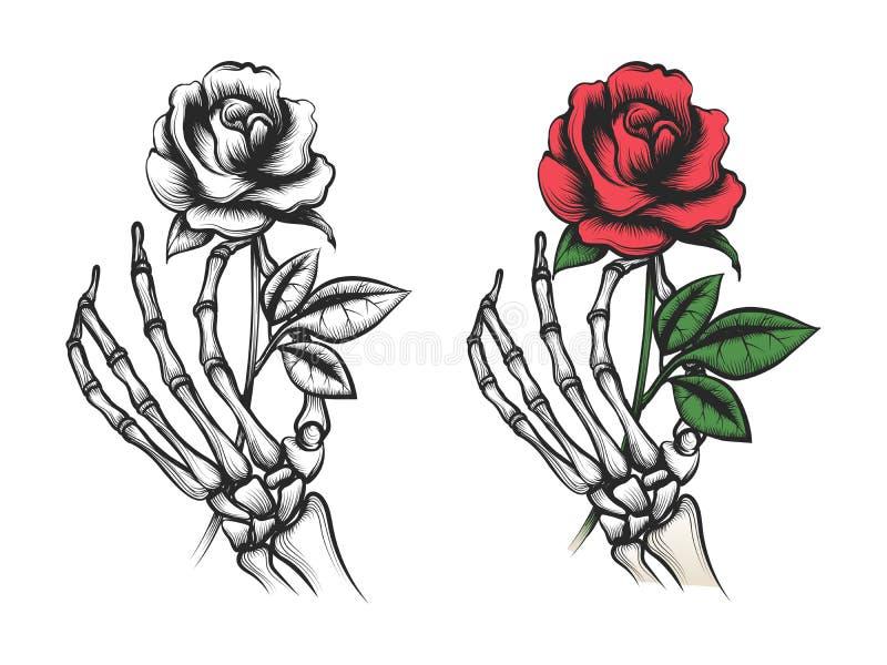 Rose flower in human skeleton hand royalty free illustration