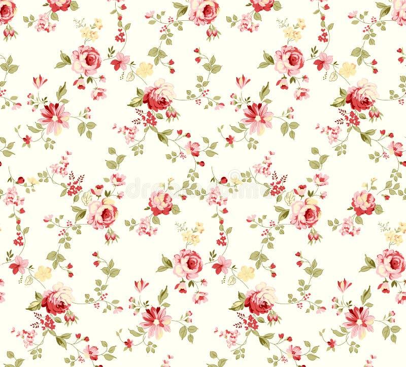 Rose flower illustration pattern with beautiful twig royalty free illustration