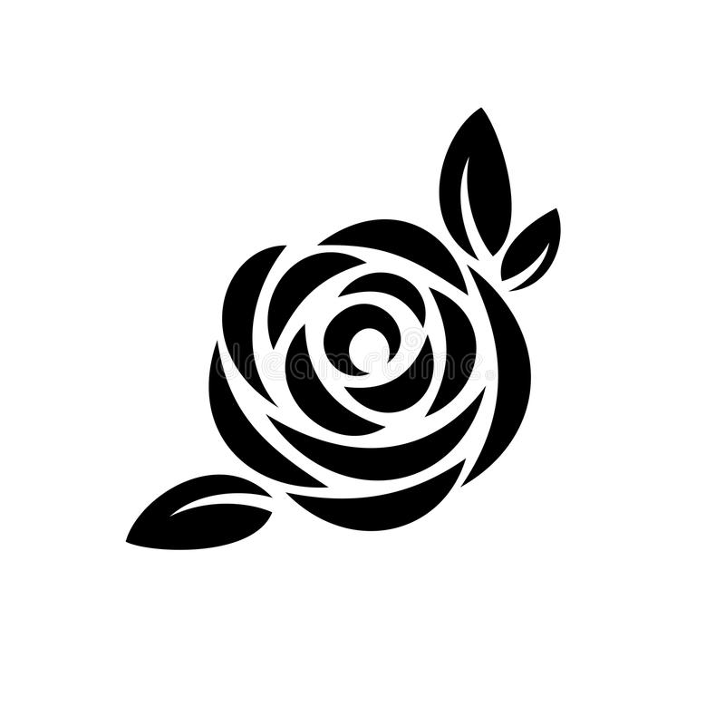 Rose flower with leaves black silhouette logo. royalty free stock image