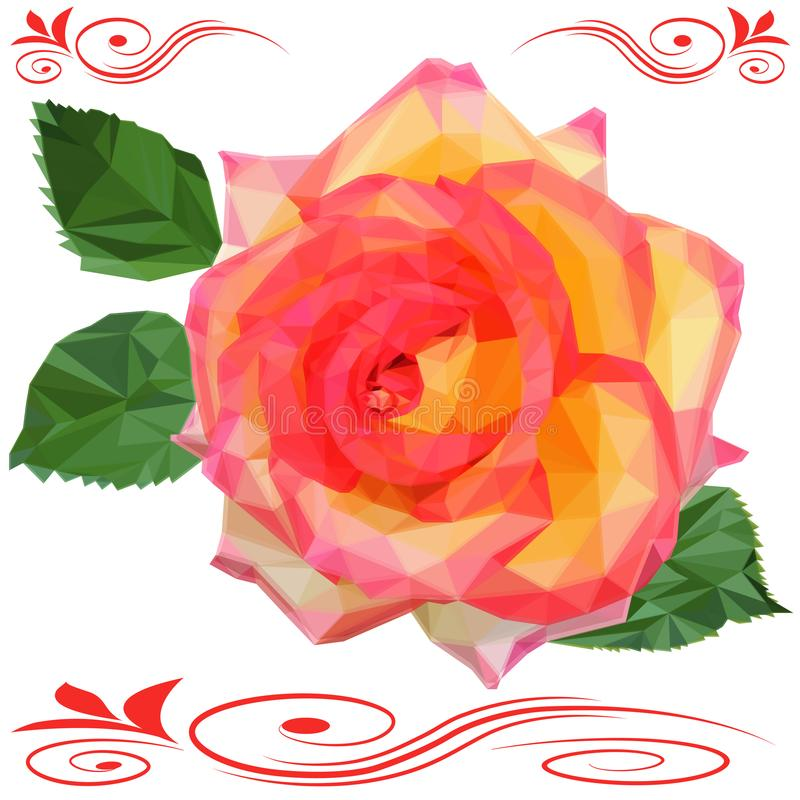 Rose flower with leaves low poly isolated on white background vector illustration