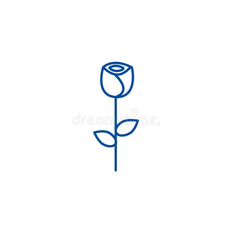 Rose flower line icon concept. Rose flower flat  vector symbol, sign, outline illustration. stock illustration