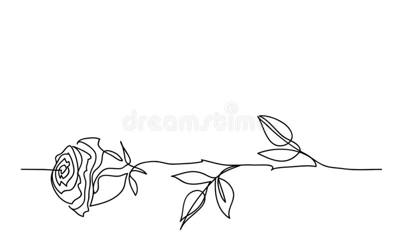 Rose Flower Minimalistic Tatoo Design One Continuous Line Drawing Simple Black And White Rose Sketch Stock Vector Illustration Of Nature Elegant 178777756