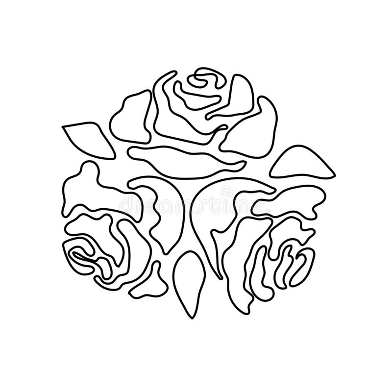 Rose flower vector monochrome pattern for tattoo royalty free stock photos