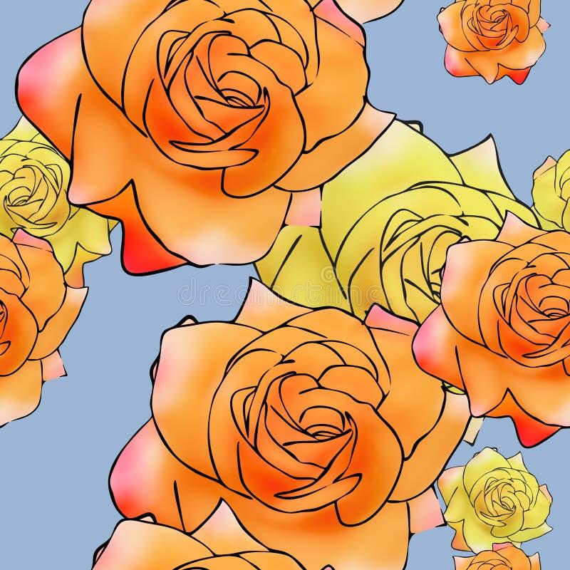 Rose Flower Nahtlose Musterbeschaffenheit von Blumen Blumenhintergrund, Fotocollage lizenzfreie abbildung