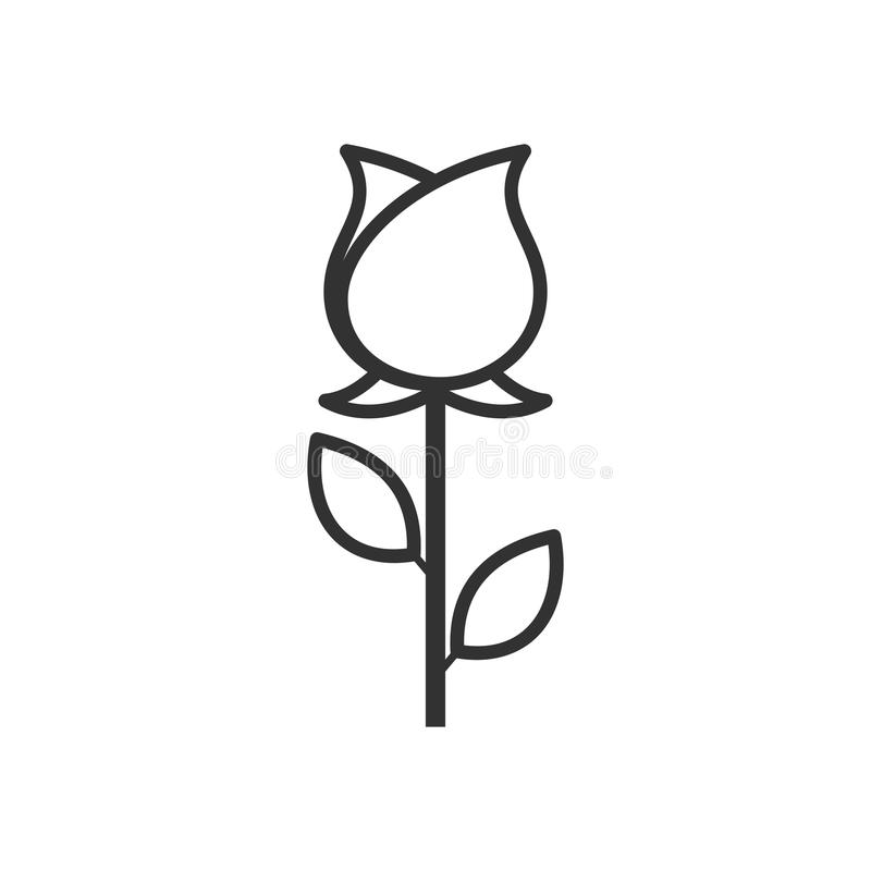 Rose Flower Outline Flat Icon sur le blanc illustration stock