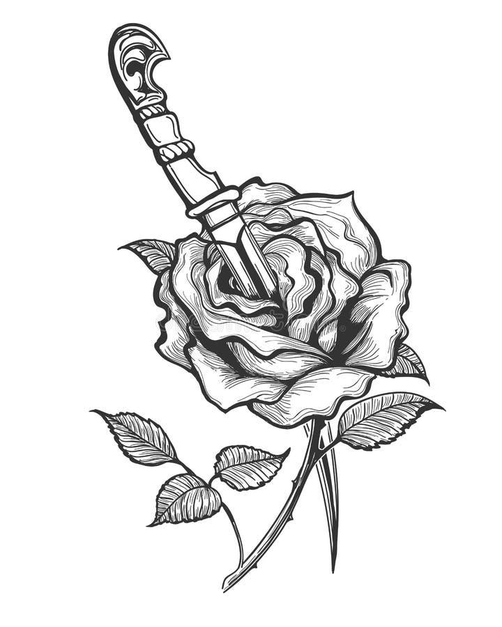 Rose Flower Pierced por Dagger Tattoo ilustração do vetor
