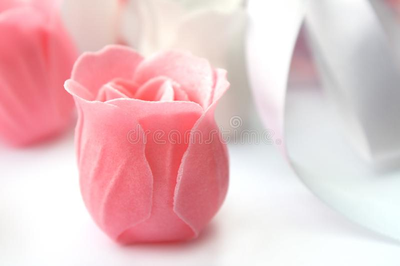 Rose flower pink made of soap royalty free stock photo