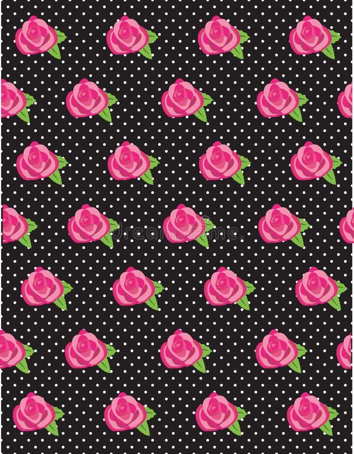 Rose Flower Polka Dot Pattern royalty free stock photography