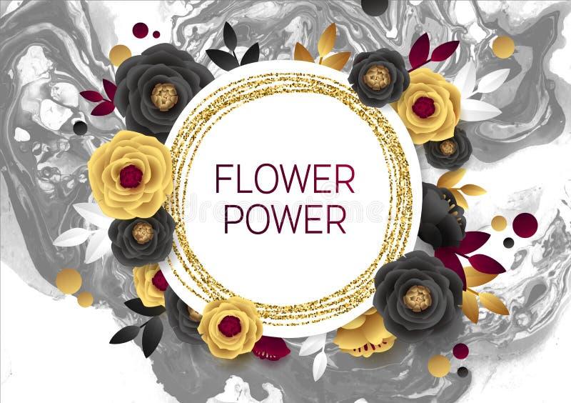 Rose Flower Poster Design Grey Marble Texture Card Modello dorato dell'insegna di luccichio Stagnola di oro dell'illustrazione di illustrazione vettoriale