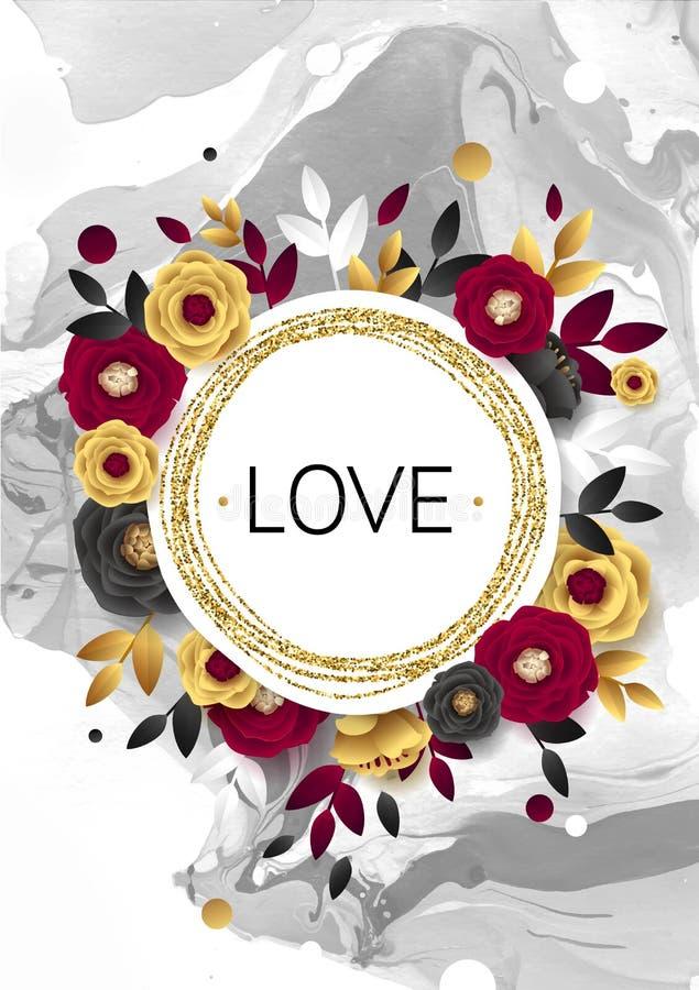 Rose Flower Poster Design Grey Marble Texture Card Skimra den guld- banermallen Guld- folie för vektorillustration royaltyfri illustrationer