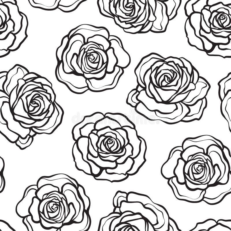 Rose flower seamless pattern. Outline black roses on white background. Stock vector. stock illustration