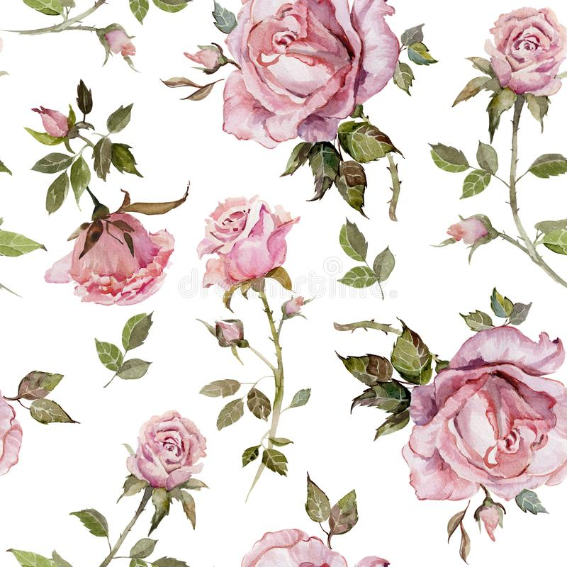 Rose flower on a twig. Seamless floral pattern. Watercolor painting. Hand drawn illustration stock illustration