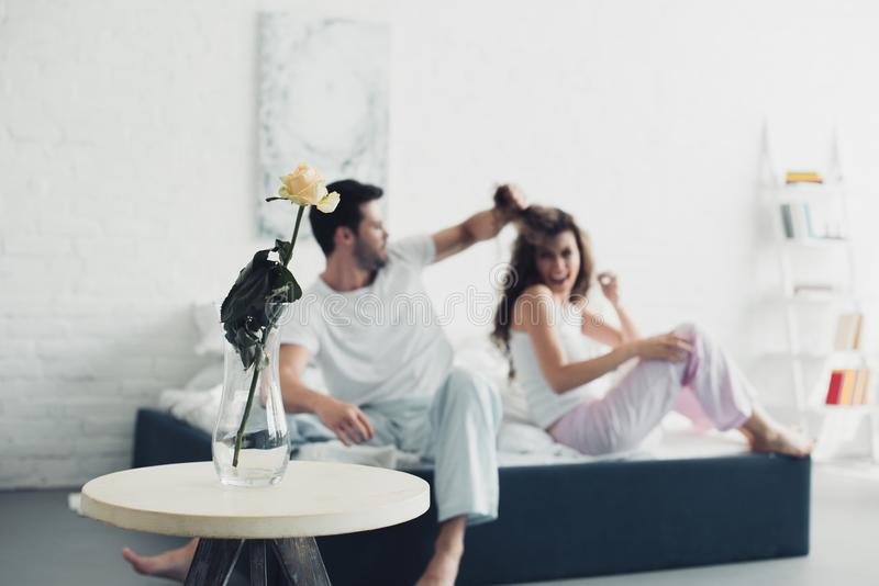 Rose flower in vase and couple quarreling on bed behind relationship difficulties. Concept stock photos