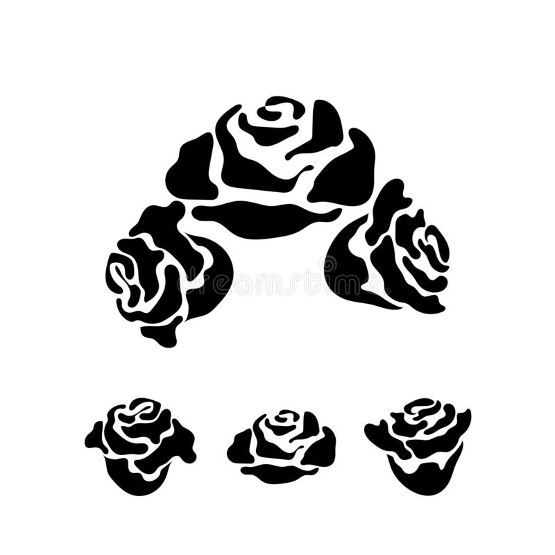 Rose flower vector monochrome pattern for tattoo stock photos