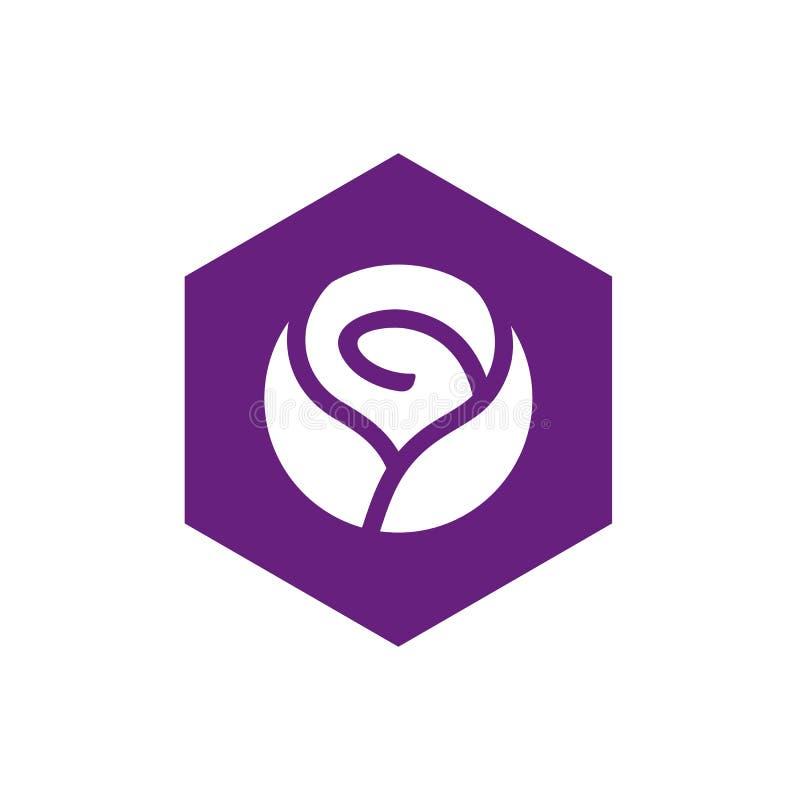 Rose Flower y hexágono Logo Design, Rose Icon Concept púrpura stock de ilustración