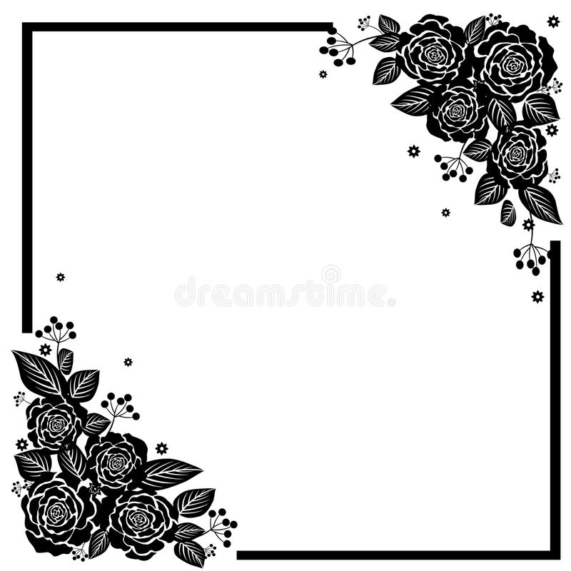 Rose Flowers blanca negra stock de ilustración
