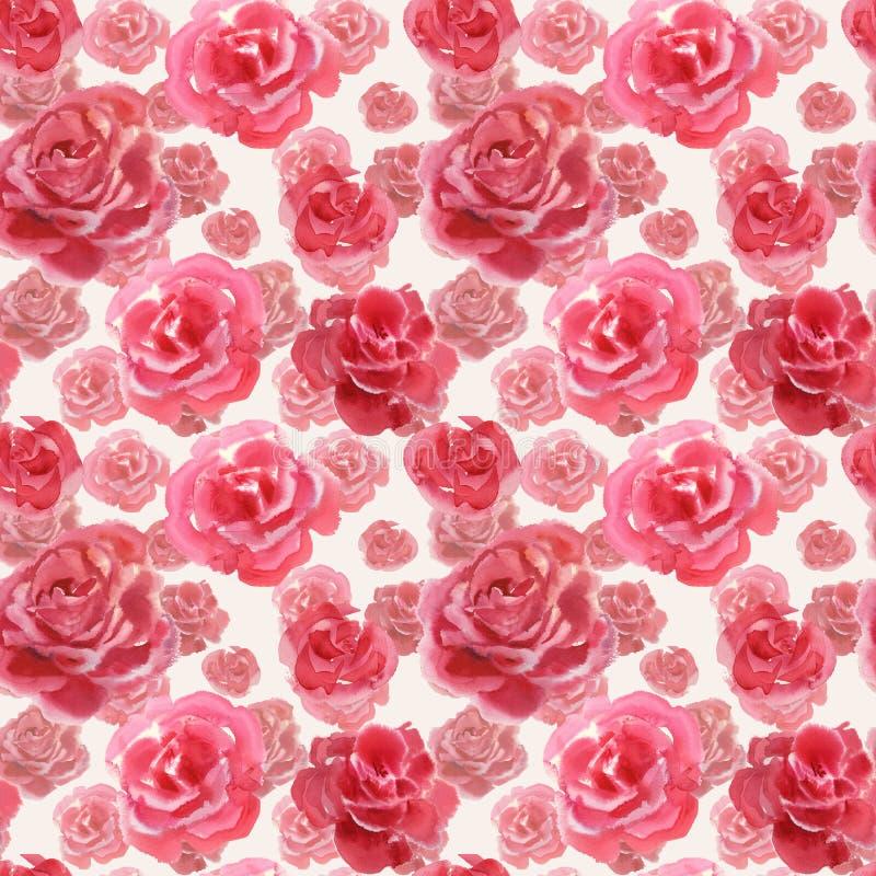 Rose flowers handmade watercolor seamless pattern gentle stock illustration