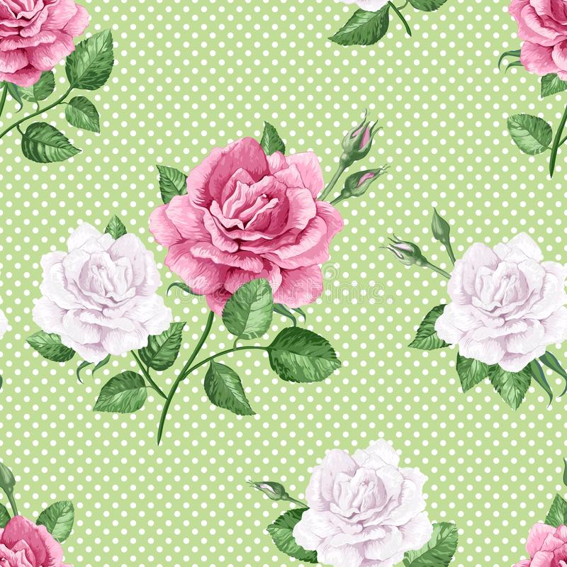 Rose flowers, petals and leaves in watercolor style on green dotted background. Seamless pattern for textile, wrapping royalty free illustration
