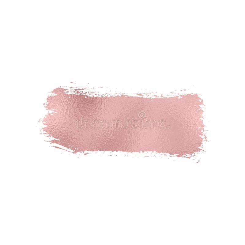 Rose foil texture brush stroke. Smudge glitter pink, sparkle glossy paint on the white background. Vector illustration royalty free illustration