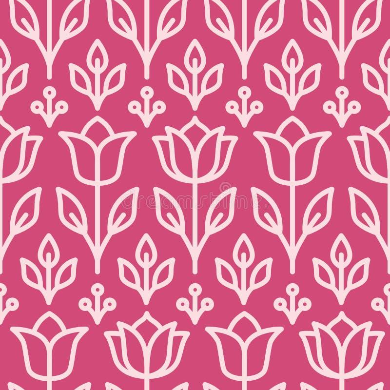 Rose fond texturisé sans couture formé rétro par fleur illustration libre de droits