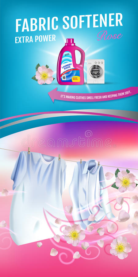 Free Rose Fragrance Fabric Softener Gel Ads. Vector Realistic Illustration With Laundry Clothes And Softener Rinse Container. Vertical Royalty Free Stock Photography - 95394447
