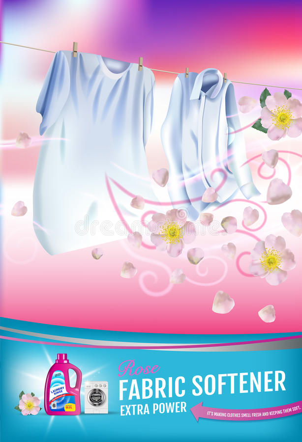 Free Rose Fragrance Fabric Softener Gel Ads. Vector Realistic Illustration With Laundry Clothes And Softener Rinse Container. Vertical Royalty Free Stock Images - 95394489