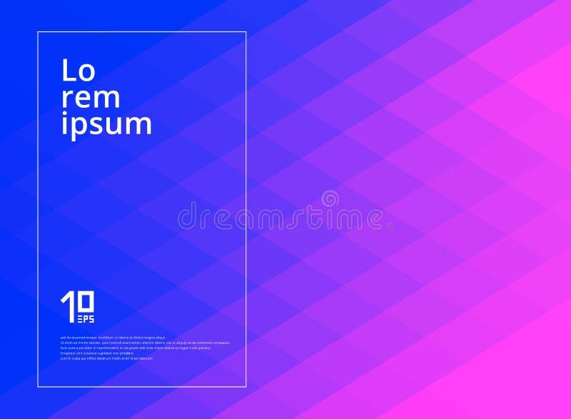 Rose géométrique abstrait de modèle de places et fond bleu de couleur de gradient avec l'espace de copie illustration stock