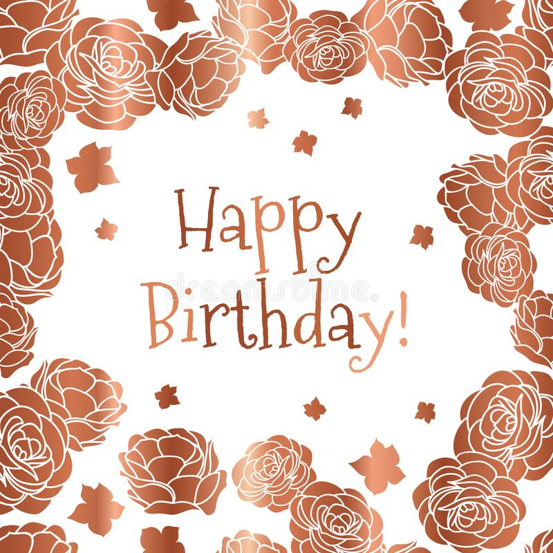 Rose garden ditsy floral Happy Birthday vector greeting card in copper and white colors. Vector graphic design royalty free illustration
