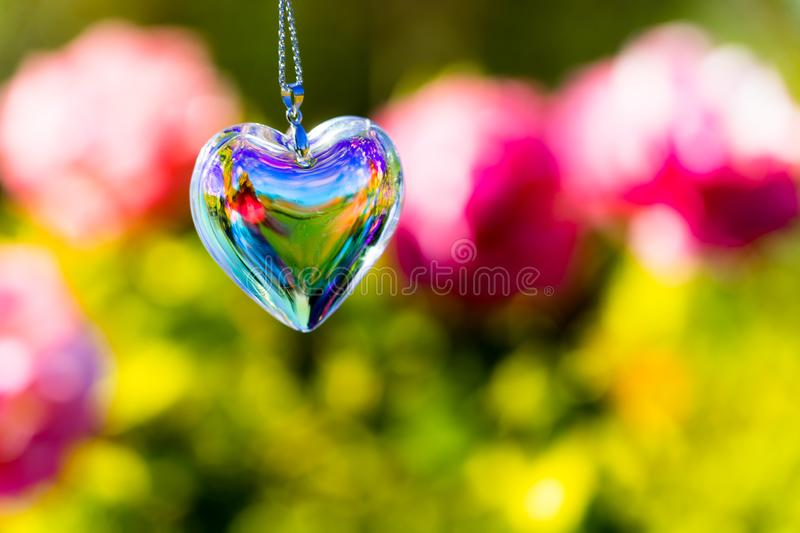Heart crystal glass refract sunlight - rose garden background. AT 1/4/2019 in Rose garden royalty free stock photos