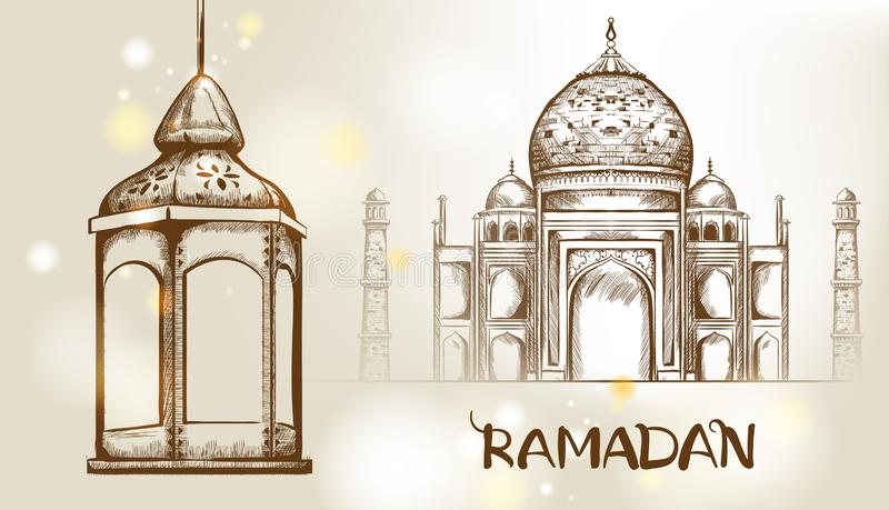 Rose gate pillar lantern with golden moon and mosque. On background Vector card. Ramadan text. Light sparkles. Rococo texture pattern and line art stock illustration