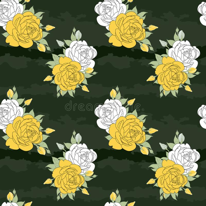 Rose gialle e bianche illustrazione di stock