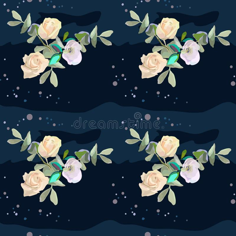 Rose gialle su fondo profondo illustrazione vettoriale