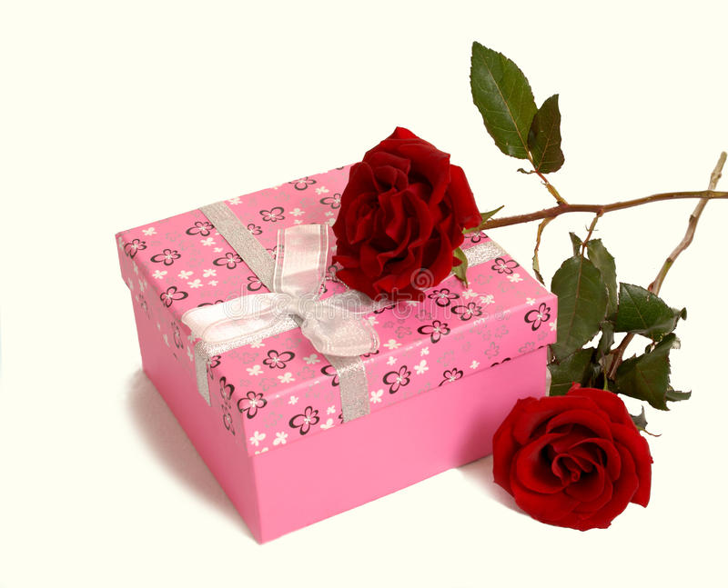 Rose and gift box. White background of the following roses and gift box royalty free stock photos