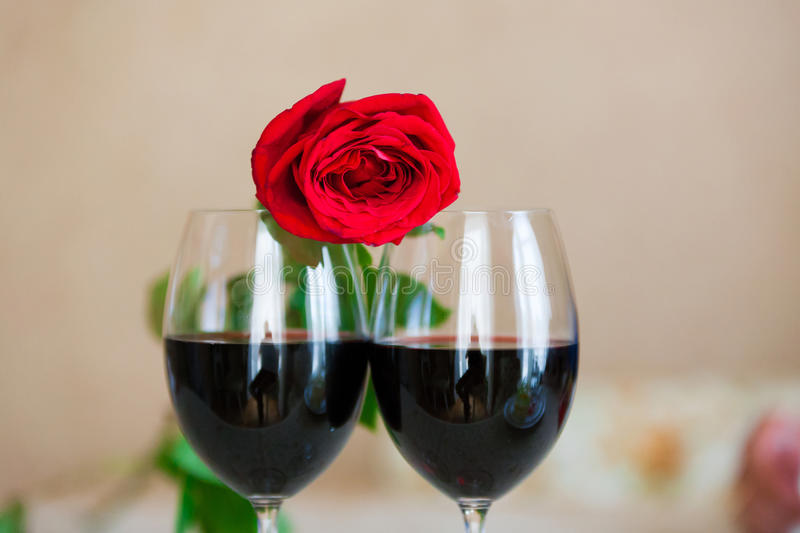 Rose And Glasses stock afbeelding