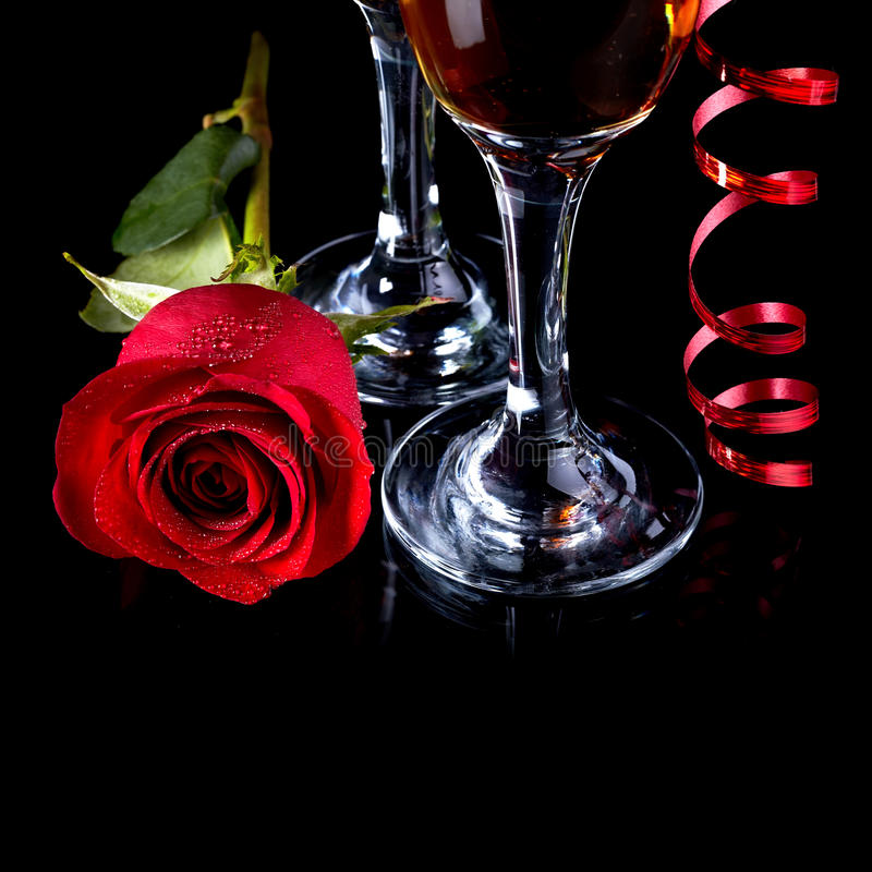 Rose with glasses and a red tape royalty free stock images