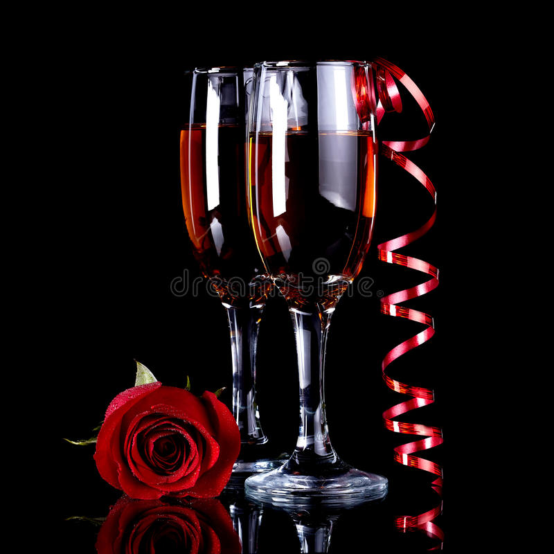 Rose with glasses and a red tape royalty free stock photo