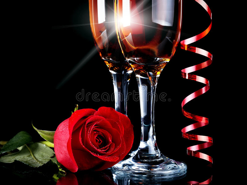 Rose with glasses and a red tape stock photo