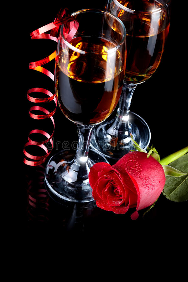Rose with glasses and a red tape stock photos